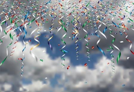 vector falling confetti in cloudy sky Vector