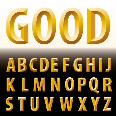 metal letters: vector original golden alphabet  Illustration