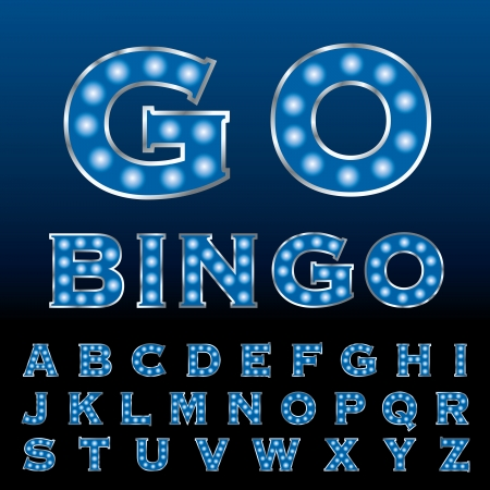 textual: vector blue entertainment and casino letters with bulb lamps  Illustration
