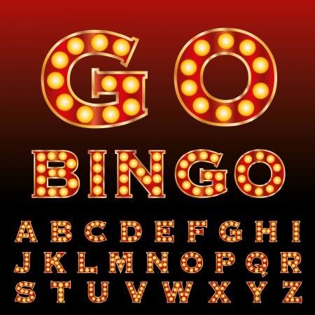gold alphabet: vector red golden entertainment and casino letters with bulb lamps