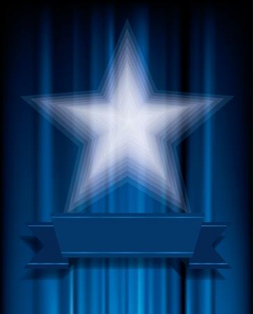 terciopelo azul: estrella blanca transparente sobre terciopelo azul