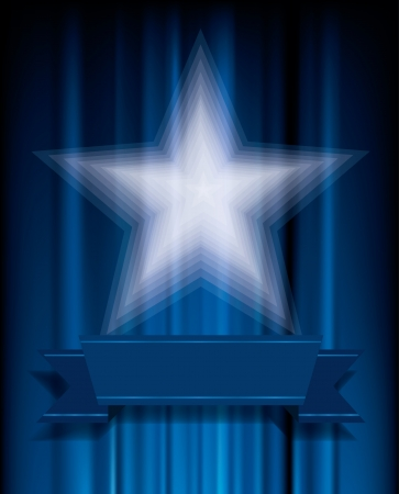 vegas sign: transparent white star on blue velvet Illustration