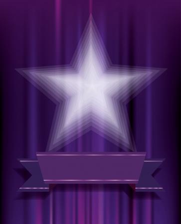 transparent white star on purple velvet Stock Vector - 24569969