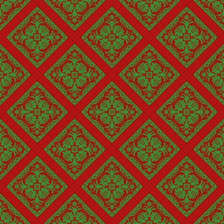 vector seamless repeating baroque wallpaper with folk colors Vector