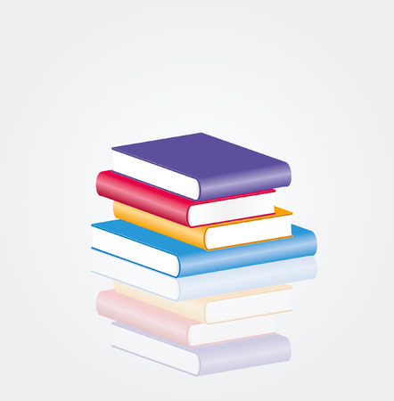 encyclopedia: vector four blank books with reflection
