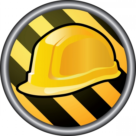 vector sign for under construction with helmet in circle Vector