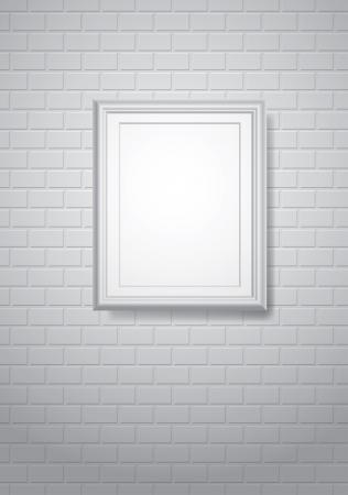 brickwall: vector de fondo con el marco en blanco sobre blanco brickwall Vectores