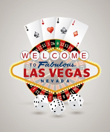 roulette wheel: vector american roulette wheel with Las Vegas sign, playing cards and dice