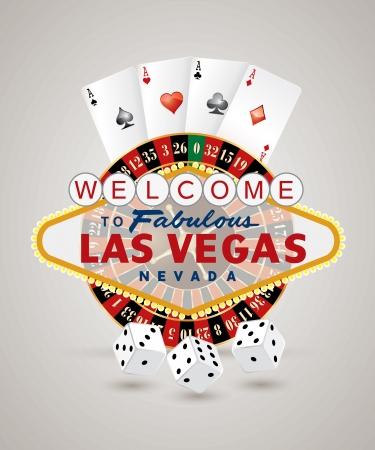 roulette: vettore ruota della roulette americana con il segno di Las Vegas, carte e dadi giocando