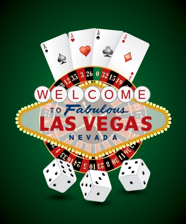 French roulette wheel with Las Vegas sign, playing cards and dice  Illustration