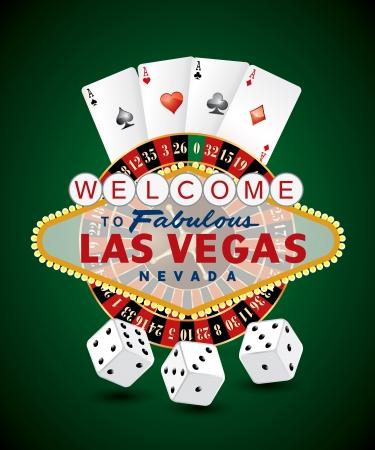 roulette: Ruota della roulette francese con segno di Las Vegas, carte da gioco e dadi Vettoriali