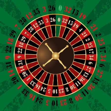 roulette table: French roulette wheel Illustration