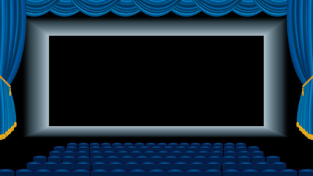 vector illustration of the blue empty cinema auditorium  Illustration