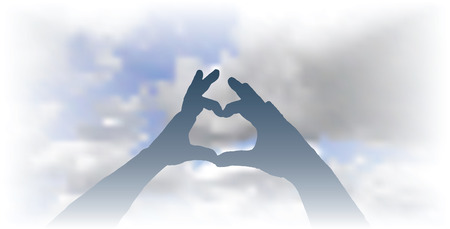 vector heart made with hands over the cloudy sky Vector