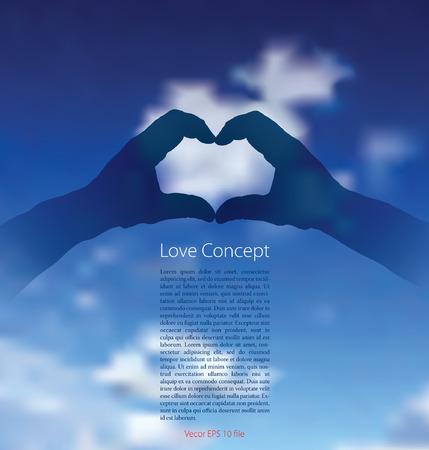 vector hart met handen gemaakt en stralen over de bewolkte hemel
