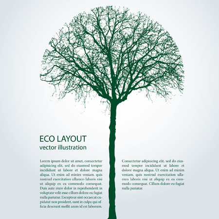 vector eco template with round trimmed tree Illustration