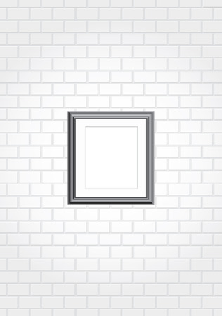 blank black frame on white brick wall  Vector