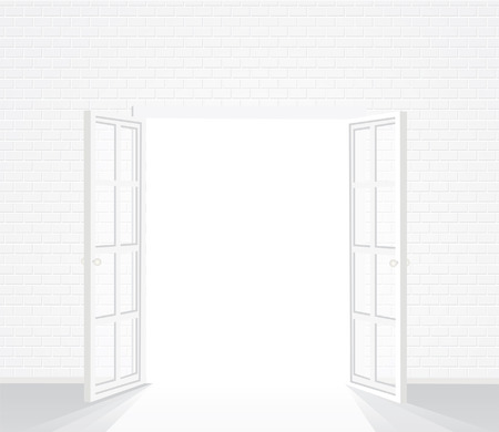 white brick room with opened french window Vector