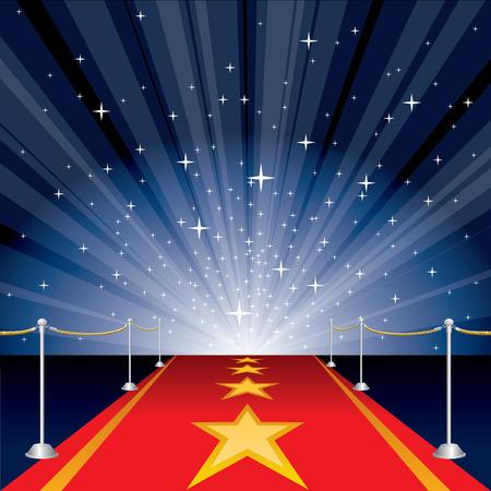 estrella azul: ilustraci�n con alfombra roja y estrellas