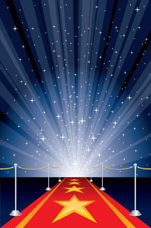theatrical: illustration with red carpet and starburst Illustration
