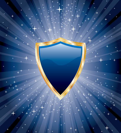 shiny shield:  blue blank shield on starry night Illustration