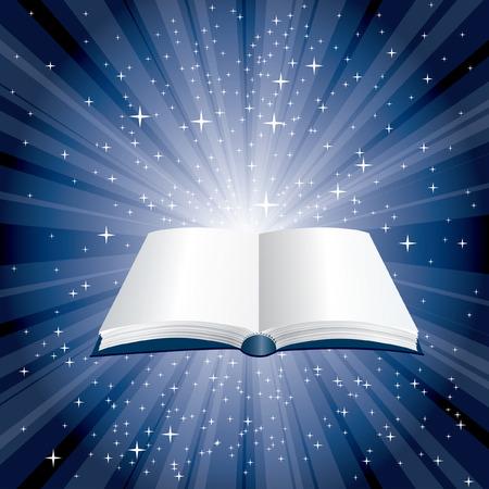 bible ouverte: livre de magie bleue nuit étoilée Illustration
