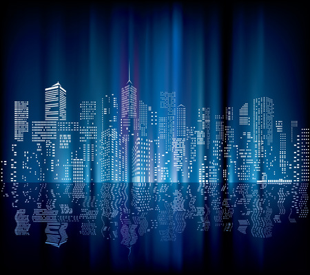 night with city skylines and reflection in water  Vector