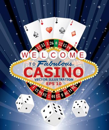 rueda de la fortuna: símbolos de los juegos de azar con Las Vegas signo, ilustración vectorial Vectores