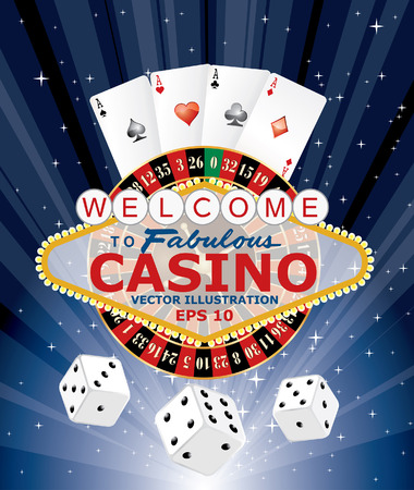 roulette table: symbols of gambling with Las Vegas sign, vector illustration