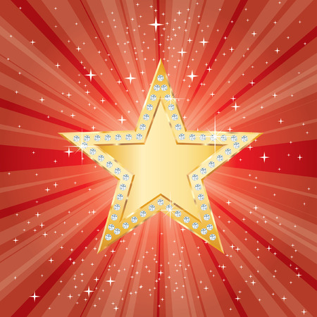 golden star with diamonds on red star burst Vector