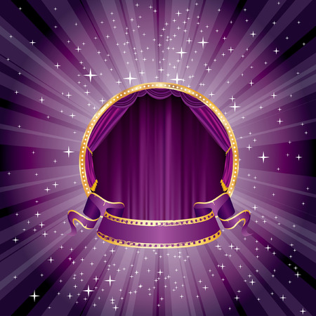 purple magic stage with blank banner Vector