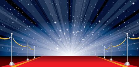 Illustration avec tapis rouge et éclat d'étoile Banque d'images - 26549523