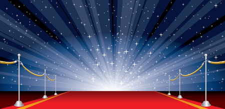 illustration with red carpet and star burst