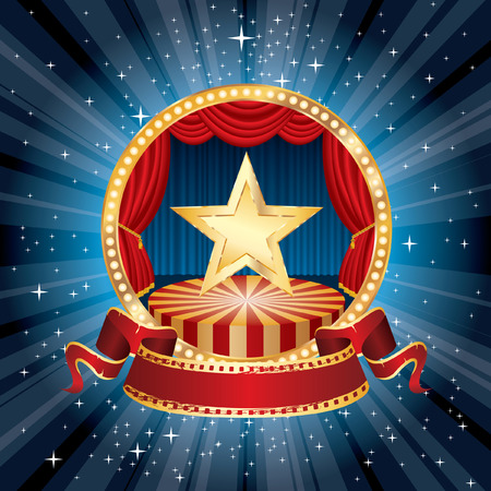 golden star on rounded stage in starry night Illustration