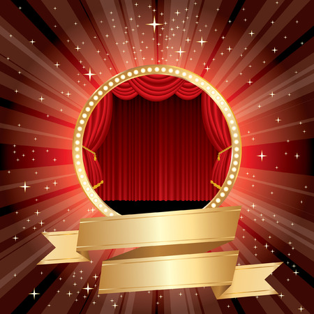 red round stage with golden blank banner  Vector