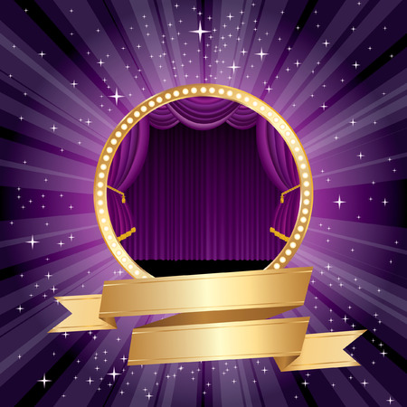 purple rounded stage with blank golden banner  Vector