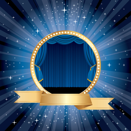golden banner blue stage Vector