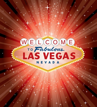 vegas sign: vector las vegas sign over the red night star burst  Illustration