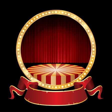 vector circle circus stage with red curtain  Vectores
