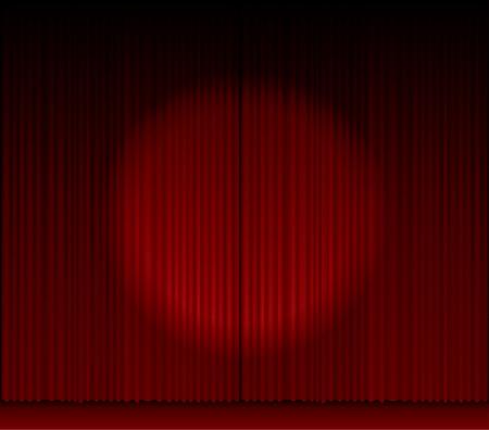luz focal: Vector escenario con tel�n rojo y la luz del punto