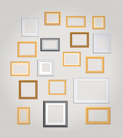vector blank frames on white brick wall  Vector