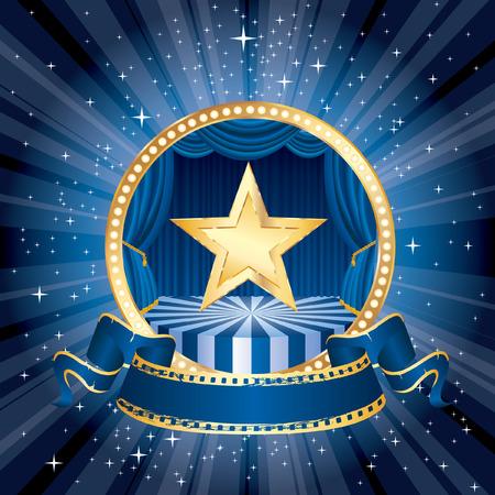 blue circle: vector estrella de oro en el escenario c�rculo azul