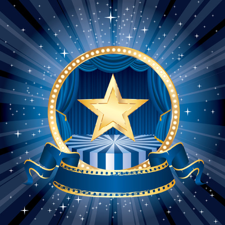 hollywood stars: vector golden star on blue circle stage
