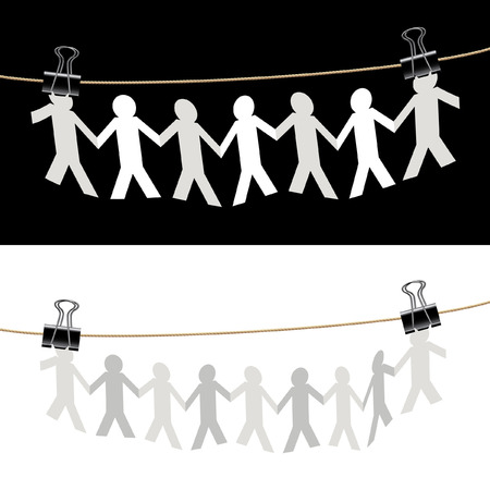 linked hands: vector symbolic illustration with paper people on rope