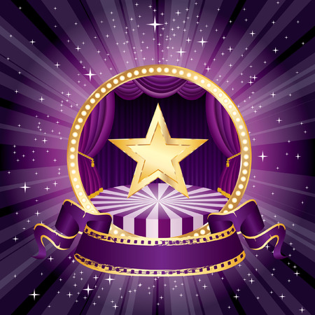 vector purple circle circus stage with golden star and blank banner  Vector