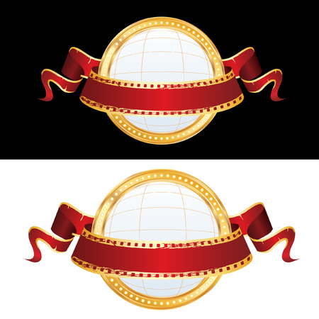 perforation tape: two billboard blank globe spheres with  banner Illustration