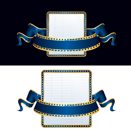 perforation tape: vector empty billboard and blank blue cinema banner