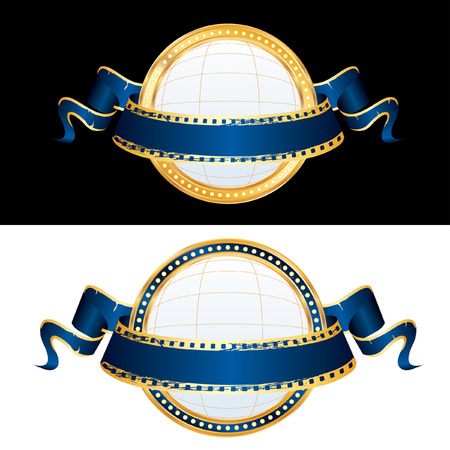 two billboard blank globe spheres with blue cinema banner  Illustration
