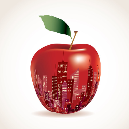 large office: vector abstract big red apple, New York sign  Illustration