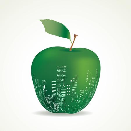 vector abstract big green apple, New York sign